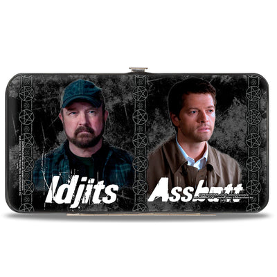 Hinged Wallet - SUPERNATURAL 4-Character Poses BITCH-JERK + IDJITS ASSBUTT Black Grays White