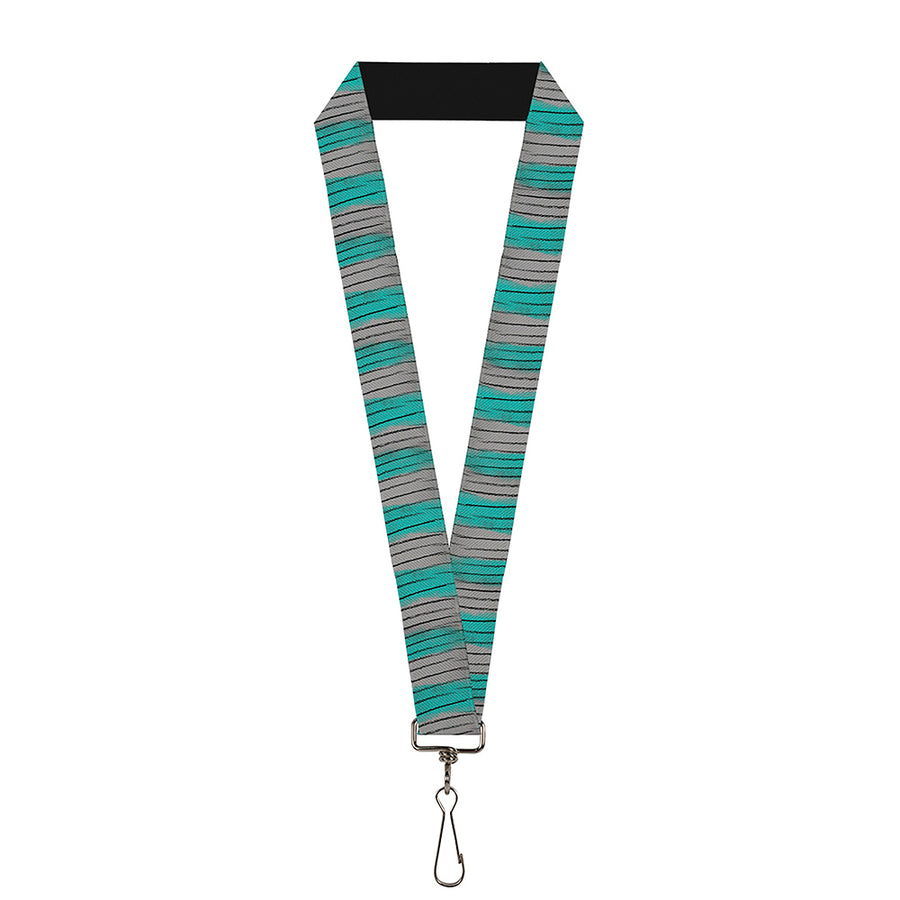 "Lanyard - 1.0"" - Cheshire Cat Stripes Gray Teal Black"