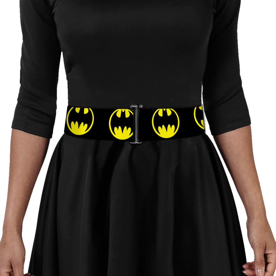 Cinch Waist Belt - Bat Signal-4 Black Yellow