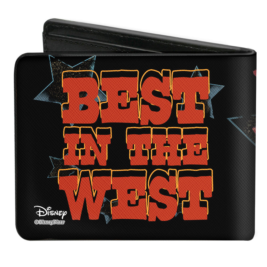 Bi-Fold Wallet - Toy Story Woody STOP PULLING MY STRING Pose + BEST IN THE WEST Black Blues Red