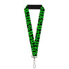 "Lanyard - 1.0"" - Electric Green Lantern Logo Scattered Black Green"