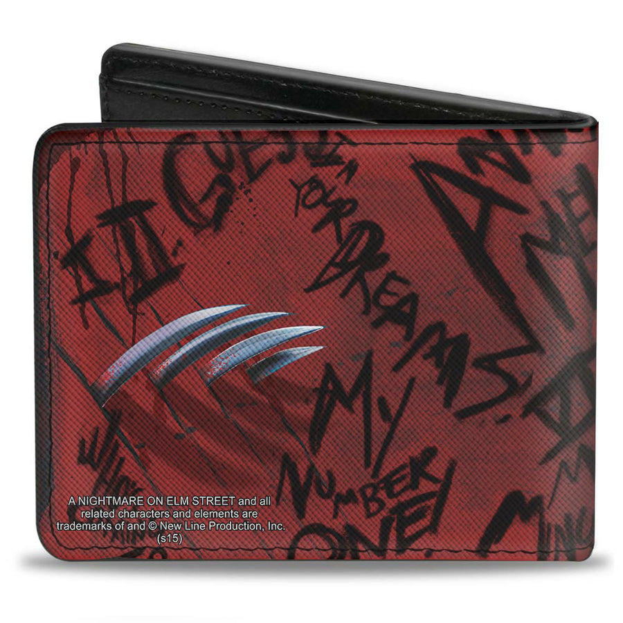 Bi-Fold Wallet - Freddy Pose2 + Hand Scratching Quote Scrawls Reds Black