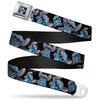Stitch Face Sketch CLOSE-UP Full Color Black Seatbelt Belt - Stitch Poses/Hibiscus Sketch Black/Gray/Blue Webbing