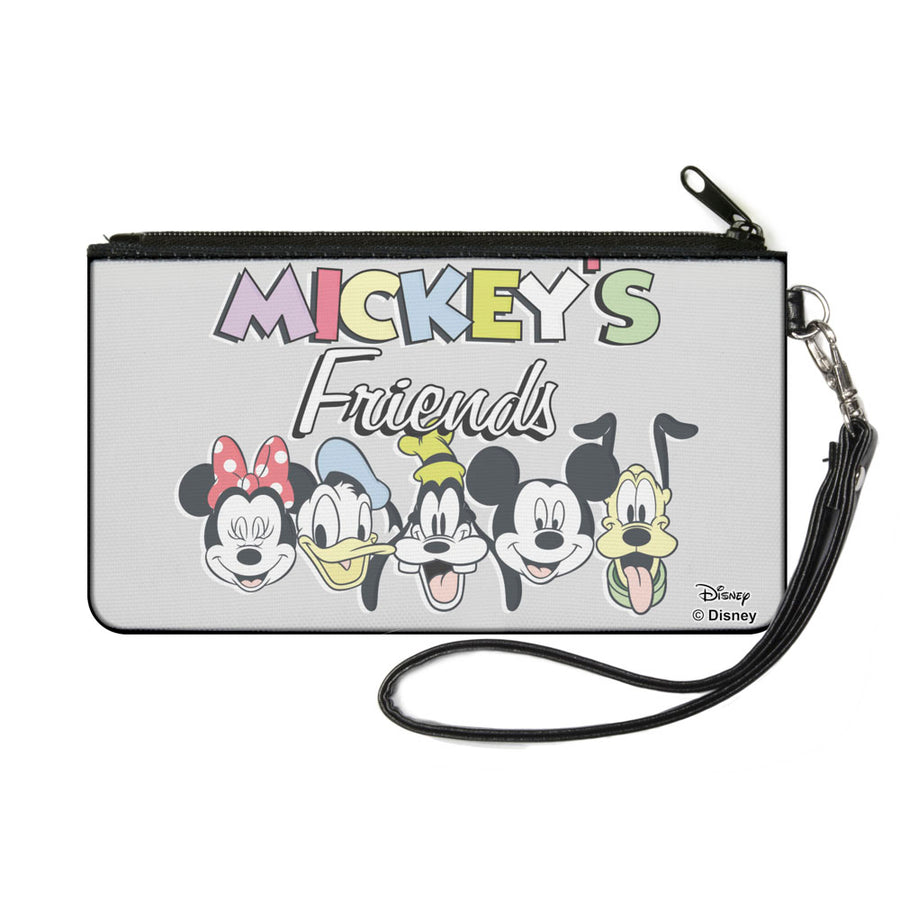 Canvas Zipper Wallet - SMALL - MICKEY'S FRIENDS The Fab Five Faces Gray