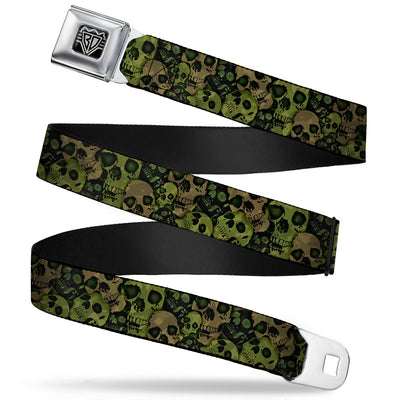 BD Wings Logo CLOSE-UP Full Color Black Silver Seatbelt Belt - Camo Olive/Black Skull Yard2 Webbing