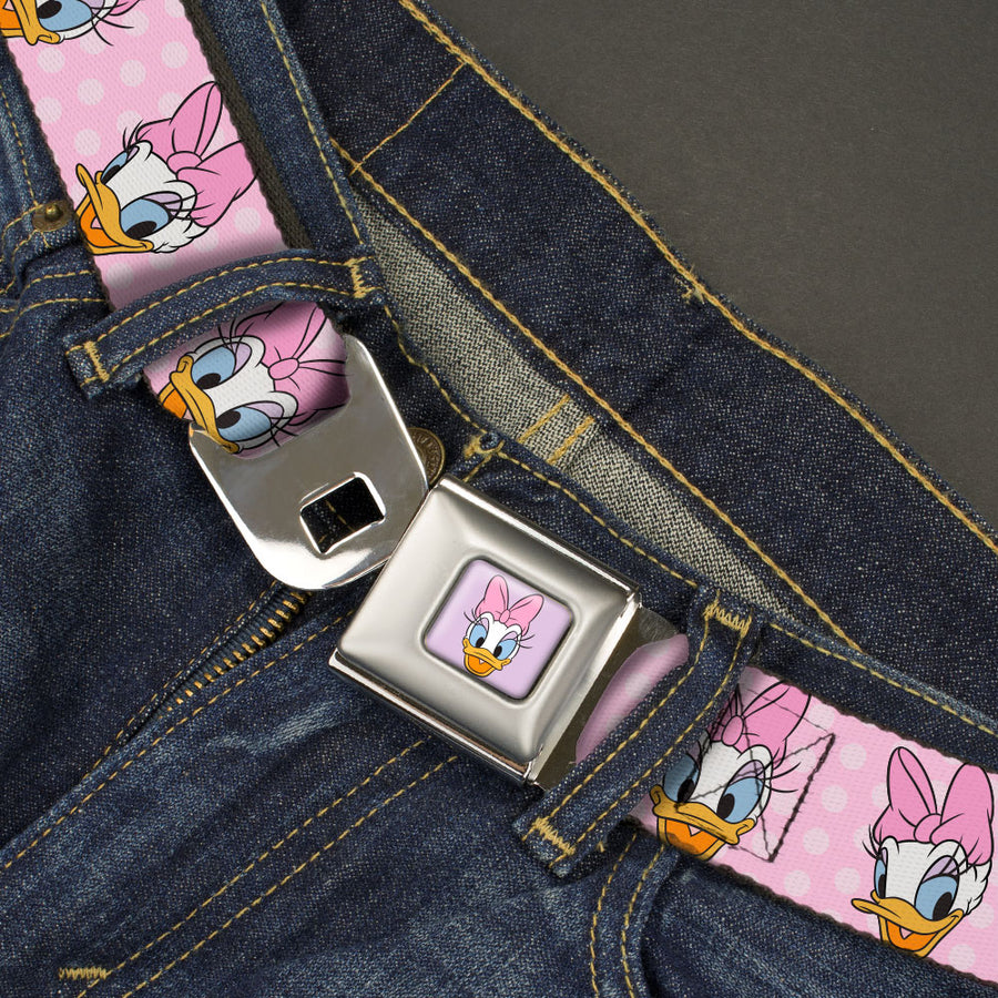 Daisy Duck Smiling Expression Full Color Pink Seatbelt Belt - Daisy Duck 2-Expressions/Dots Pinks Webbing