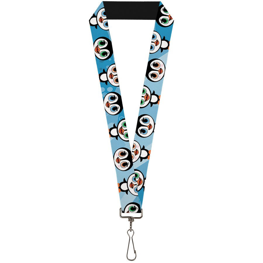 "Lanyard - 1.0"" - Cute Penguins Blue Bubbles"