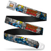 MARVEL COMICS Marvel Comics Logo Full Color Seatbelt Belt - Classic GHOST RIDER 3-Riding Poses/Comic Blocks Grays/Yellow/Black/Red Webbing