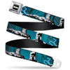 Batman Signal Full Color Black/White Seatbelt Belt - Batman Hush Grappling Hook/Standing Poses Aqua/Black/Grays Webbing
