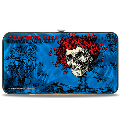 Hinged Wallet - GRATEFUL DEAD Skull & Roses Blues Black Red