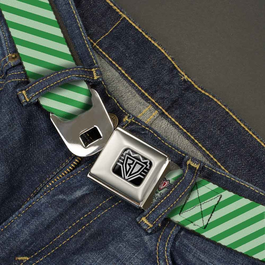 BD Wings Logo CLOSE-UP Full Color Black Silver Seatbelt Belt - Diagonal Stripes Pastel Greens Webbing