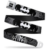 Batman Black Silver Seatbelt Belt - BATMAN w/Bat Signals & Flying Bats Black/White Webbing
