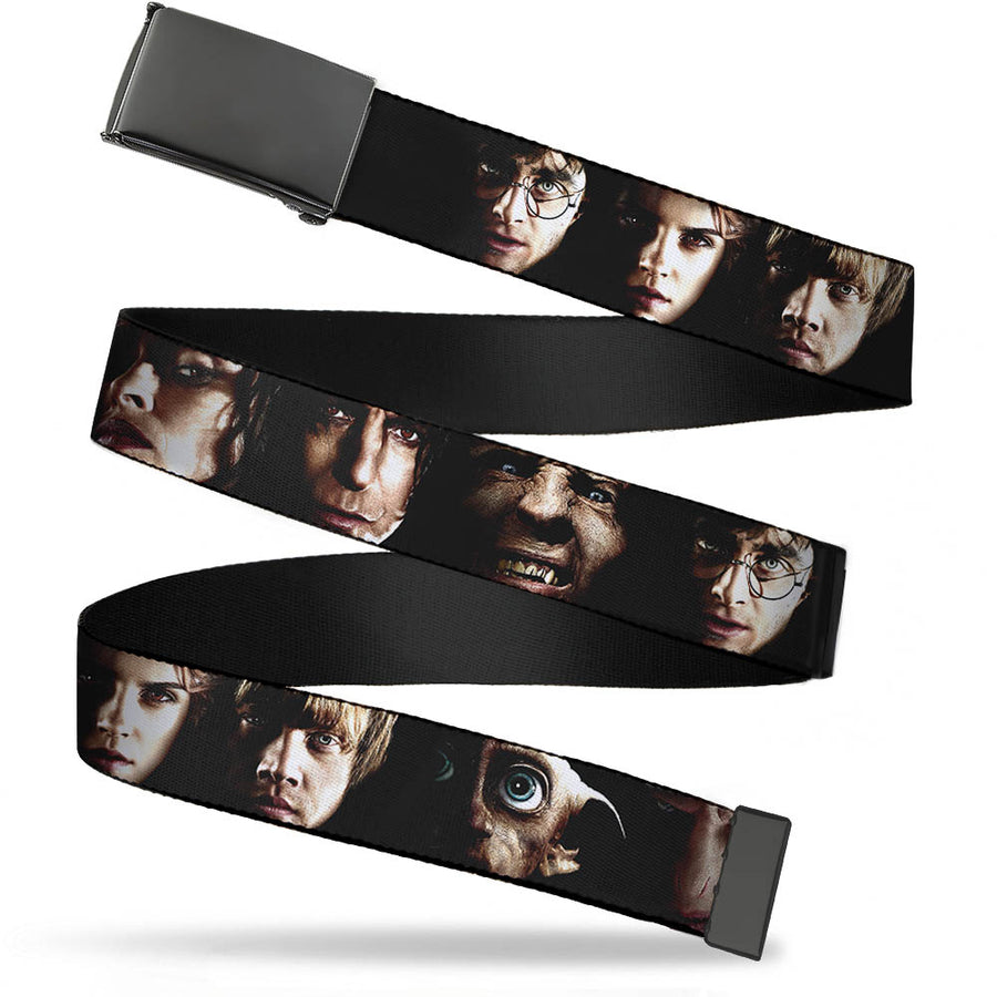 Black Buckle Web Belt - Harry Potter 8-Character Faces CLOSE-UP Webbing
