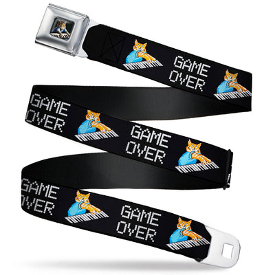 Vivid Keyboard Cat Playing Pose Full Color Black Seatbelt Belt - Keyboard Cat Cartoon GAME OVER Webbing