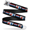 CAMARO Six Badge Full Color Black Silver Red White Blue Seatbelt Belt - CAMARO Six Badge/Stripe Black/Silver/Red/White/Blue Webbing
