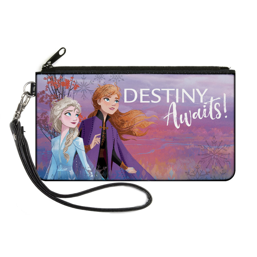 Canvas Zipper Wallet - LARGE - Frozen II Elsa and Anna Pose DESTINY AWAITS! Purples Pinks Blues White