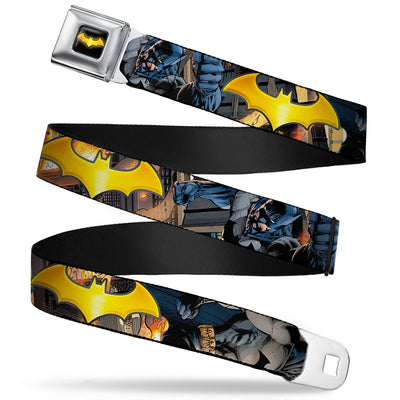 Bat Shield Full Color Black Golden Yellow Seatbelt Belt - Bat Shield/Urban Legend Action Poses/Fire Full Color/Golden Yellow Webbing