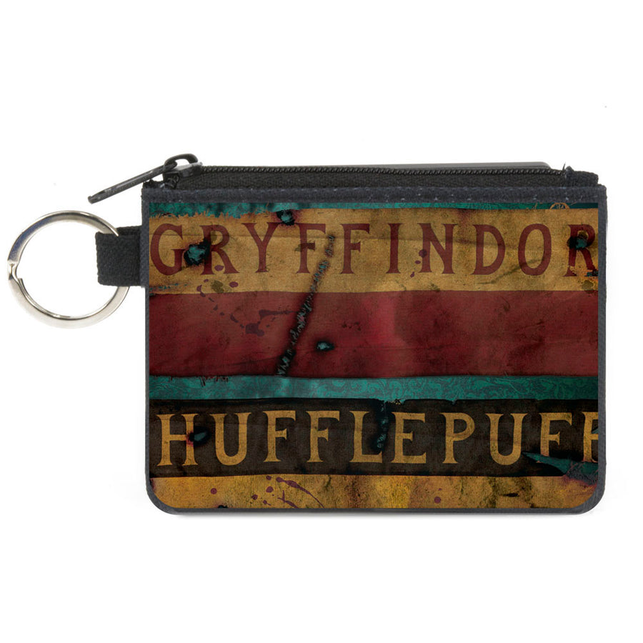 Canvas Zipper Wallet - MINI X-SMALL - GRYFFINDOR & HUFFLEPUFF Burnt Banners