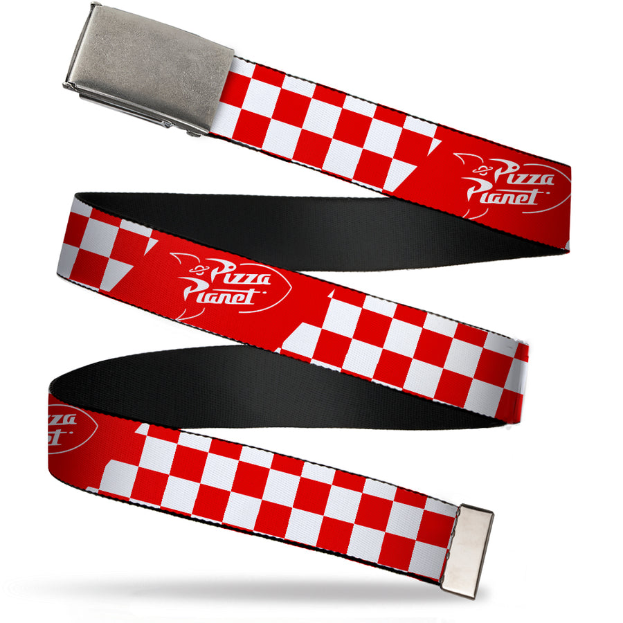Chrome Buckle Web Belt - Toy Story PIZZA PLANET Logo Checker Red/White Webbing