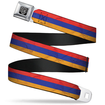 BD Wings Logo CLOSE-UP Full Color Black Silver Seatbelt Belt - Armenia Flag Distressed Webbing