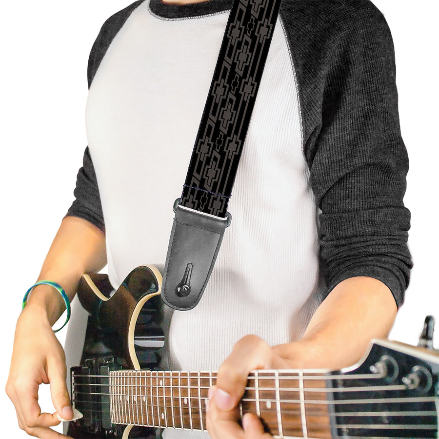 Guitar Strap - Retro Chevy Bowtie Monogram Black Gray