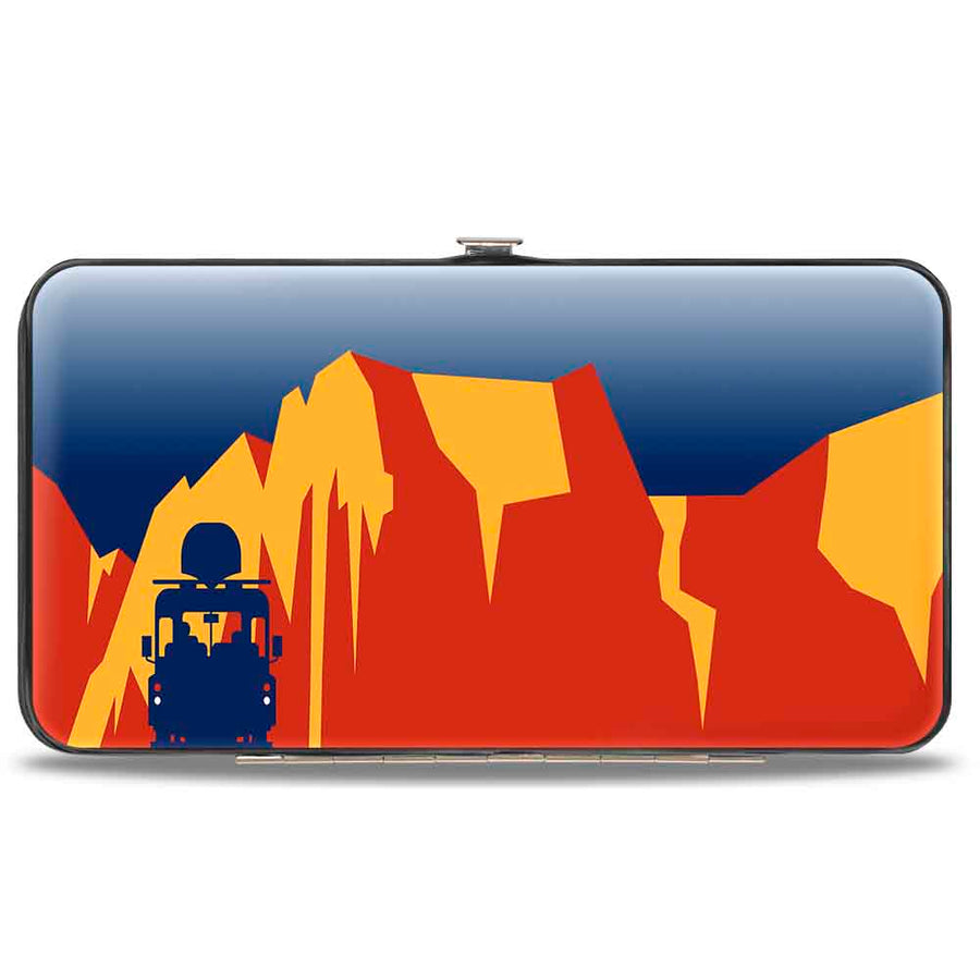 Hinged Wallet - SEE AMERICA-ZION NATIONAL PARK Mt. Carmel Highway Scene Blue Gold Red Navy