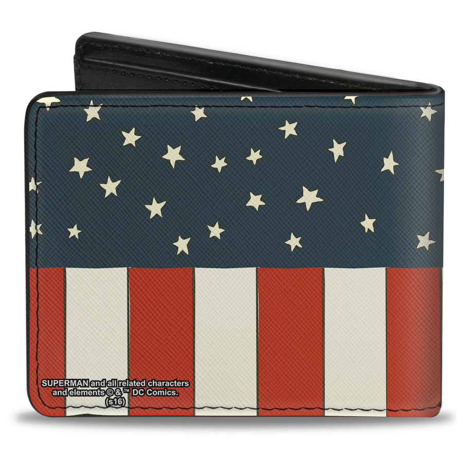 Bi-Fold Wallet - Superman Shield Americana Red White Blue Yellow