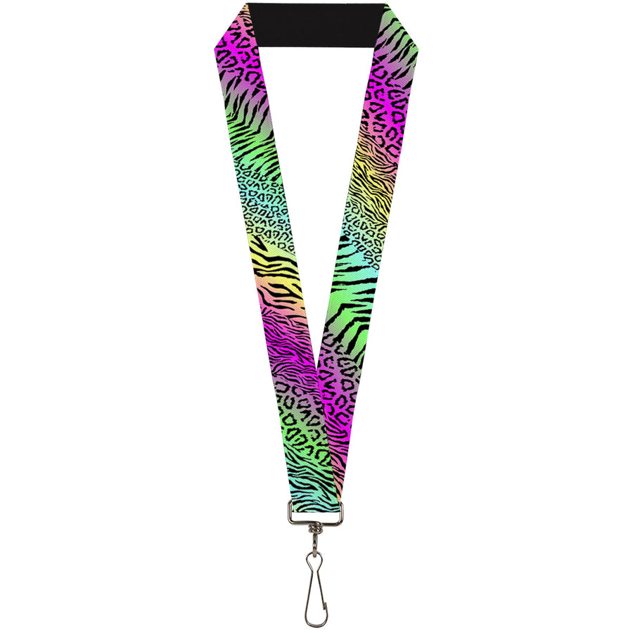 "Lanyard - 1.0"" - Animal Skins Rainbow Black"