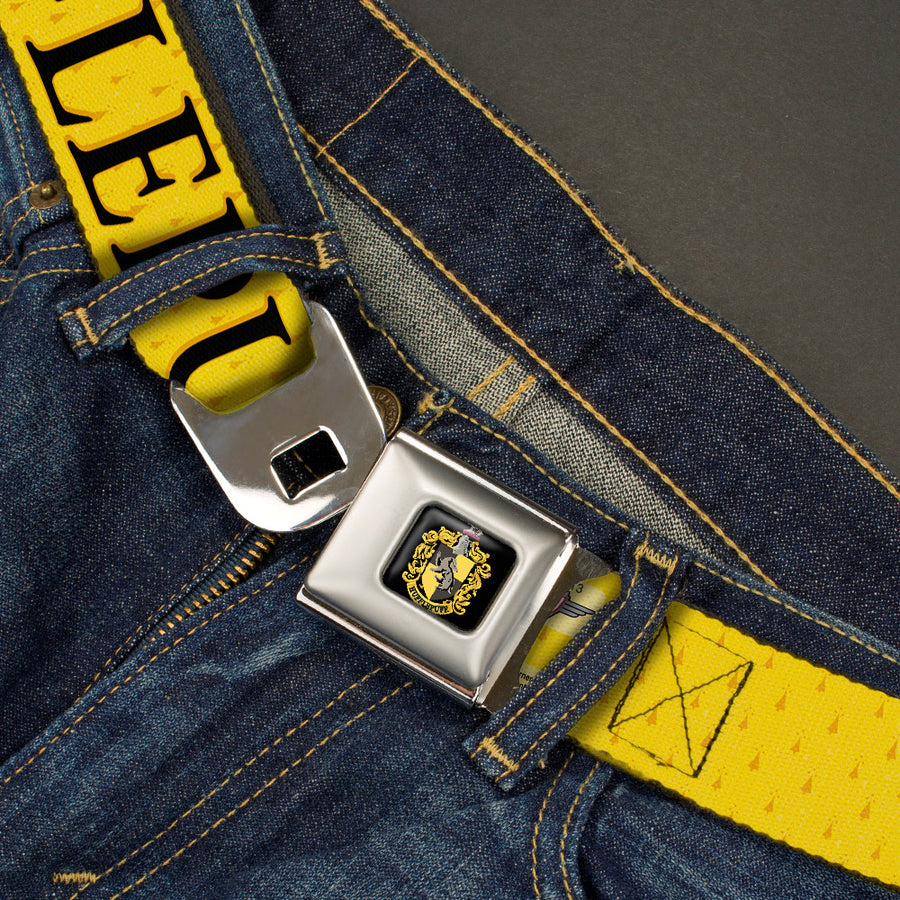 Hufflepuff Crest Full Color Seatbelt Belt - Harry Potter HUFFLEPUFF & Crest Yellow/Black Webbing