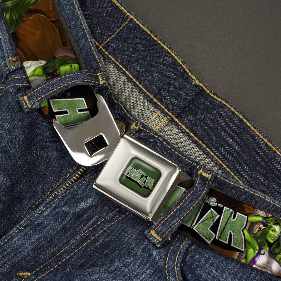 SHE-HULK Logo Full Color Greens Seatbelt Belt - SHE-HULK Comic Book Cover Poses/Rocks Webbing