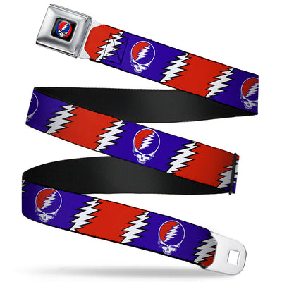 Steal Your Face Seatbelt Belt - Steal Your Face w/Lightning Bolt Repeat Red/White/Blue Webbing