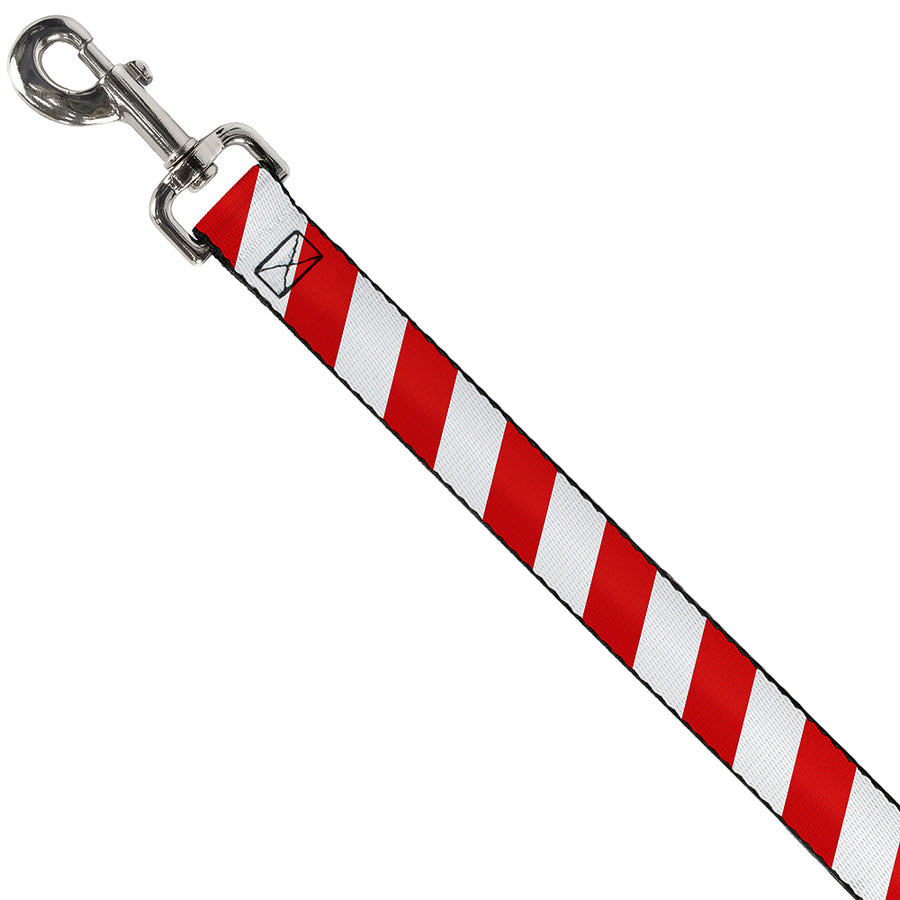 Dog Leash - Candy Cane2 Stripe White/Red
