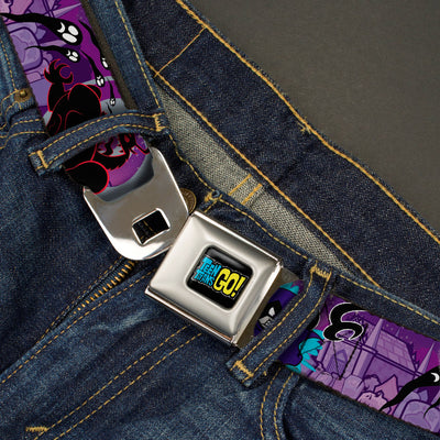 TEEN TITANS GO! Full Color Black Blue Yellow Seatbelt Belt - RAVEN/Trigon/Ghosts Cemetery Poses Purples Webbing
