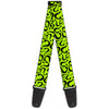 Guitar Strap - Question Mark Scattered Lime Green Black