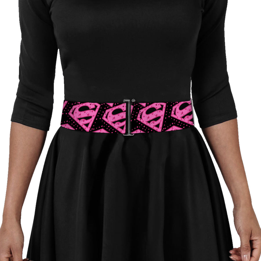 Cinch Waist Belt - Diagonal Superman Logo w Hearts Black Pink
