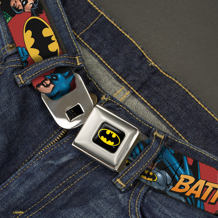 Batman Full Color Black Yellow Seatbelt Belt - Batman & Robin in Action w/Text Burgundy Webbing