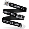 Grumpy Cat Face Full Color Black Seatbelt Belt - GRUMPY CAT w/Face CLOSE-UP Black/White Webbing