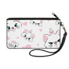 Canvas Zipper Wallet - SMALL - Aristocats Marie Expressions Hearts Scattered White Pink