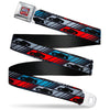 Cars 3 LIGHTNING MCQUEEN Pose3 + 95 Full Color Red Blue White Yellow Seatbelt Belt - Cars 3 Car Profile Stripe Blocks Black/Grays/Blue/Red Webbing