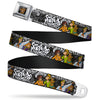 Scooby Doo Face Full Color Black Seatbelt Belt - SCOOBY DOO Group Pose/Bones Webbing