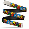 Chrome Buckle Web Belt - Marvel Superhero Blocks Multi Color Webbing