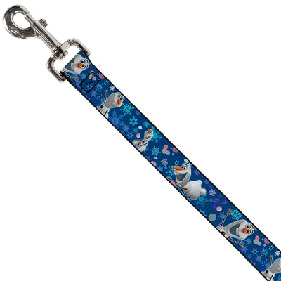 Dog Leash - Frozen Olaf Poses/Snowflakes Blues