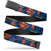 Black Buckle Web Belt - SUPERMAN MAN OF STEEL Shield Collage/Rays Black/Blues/Reds/Yellows Webbing