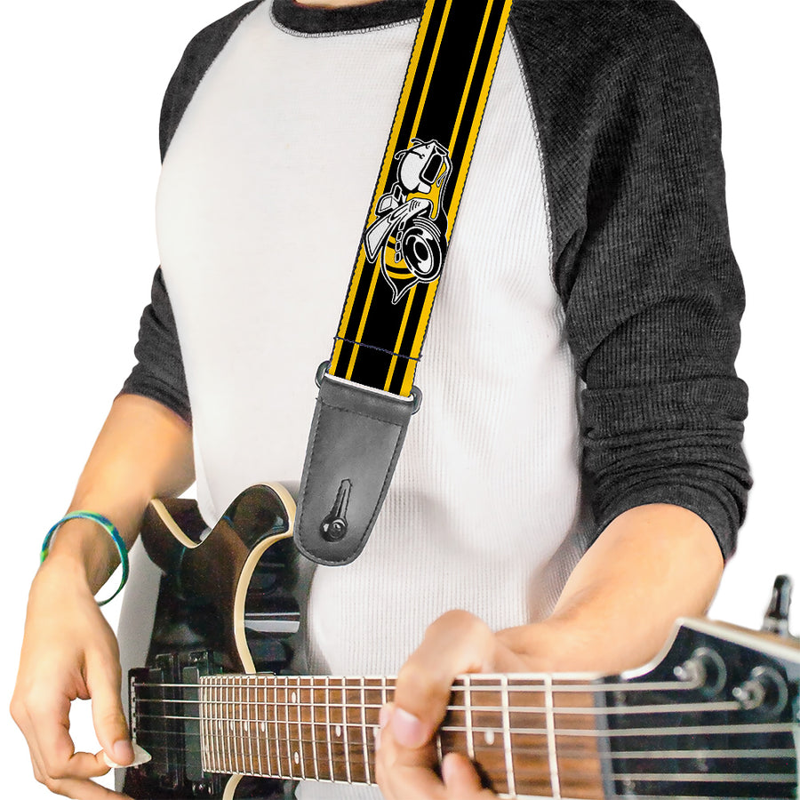 Guitar Strap - SUPER BEE Logo Stripes Black Yellow