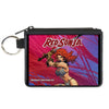 Canvas Zipper Wallet - MINI X-SMALL - RED SONJA Sword Action Pose2 Purples Reds