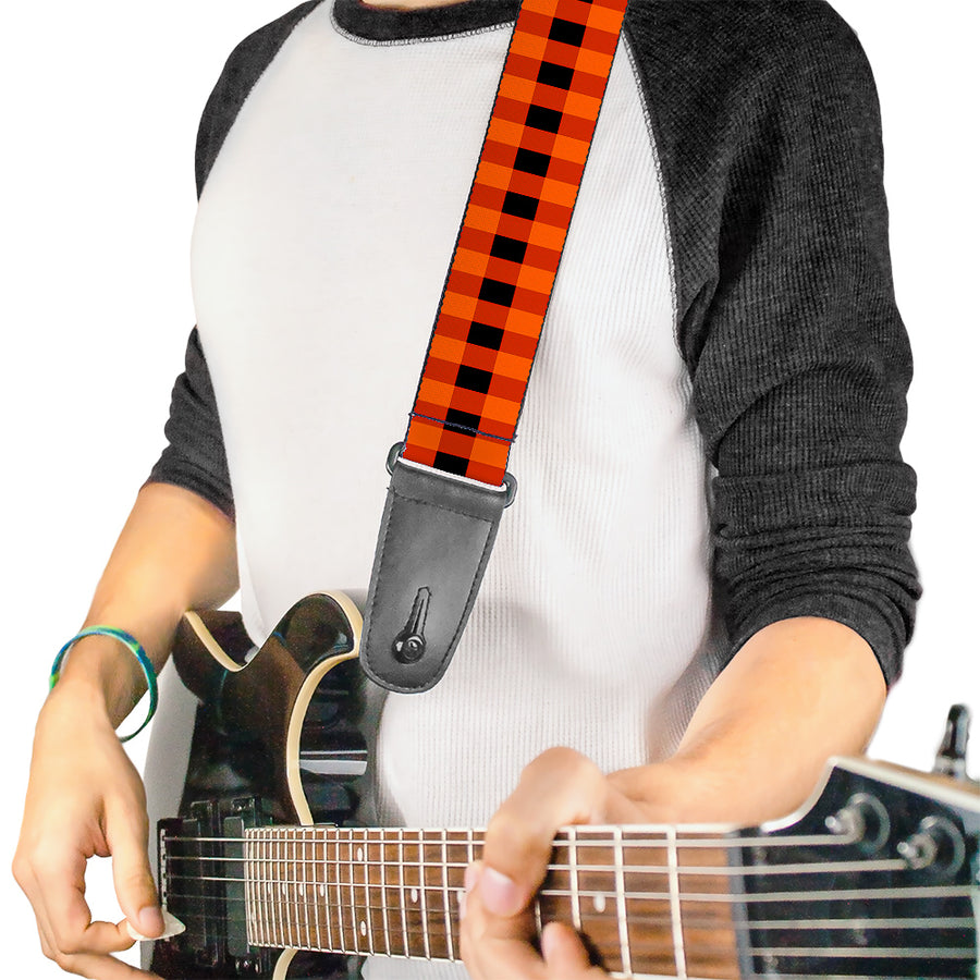 Guitar Strap - Buffalo Plaid Black Orange