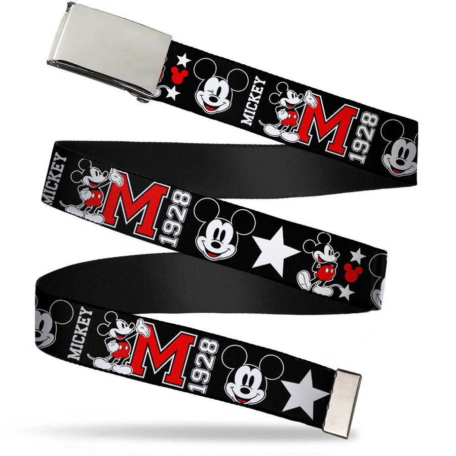 Chrome Buckle Web Belt - Classic Mickey Mouse 1928 Collage Black/White/Red Webbing
