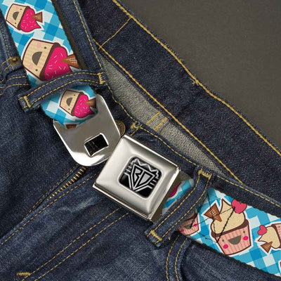 BD Wings Logo CLOSE-UP Full Color Black Silver Seatbelt Belt - Happy Cupcakes Buffalo Plaid White/Blue Webbing