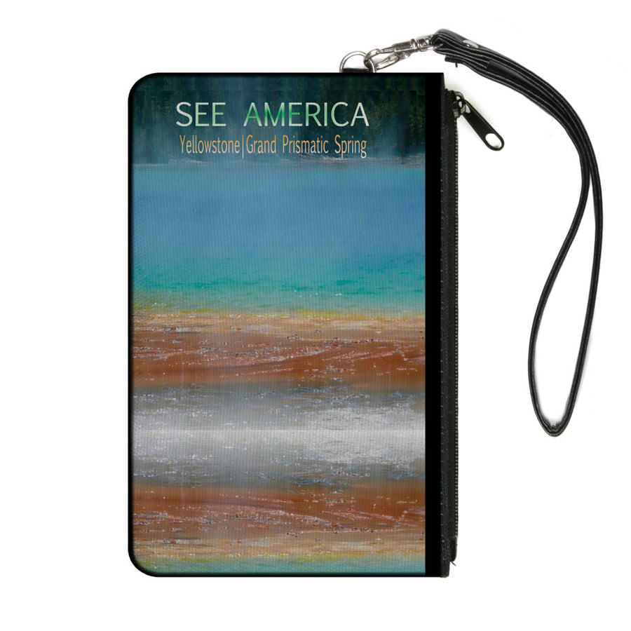 Canvas Zipper Wallet - LARGE - SEE AMERICA-YELLOWSTONE Vivid GRAND PRISMATIC SPRING