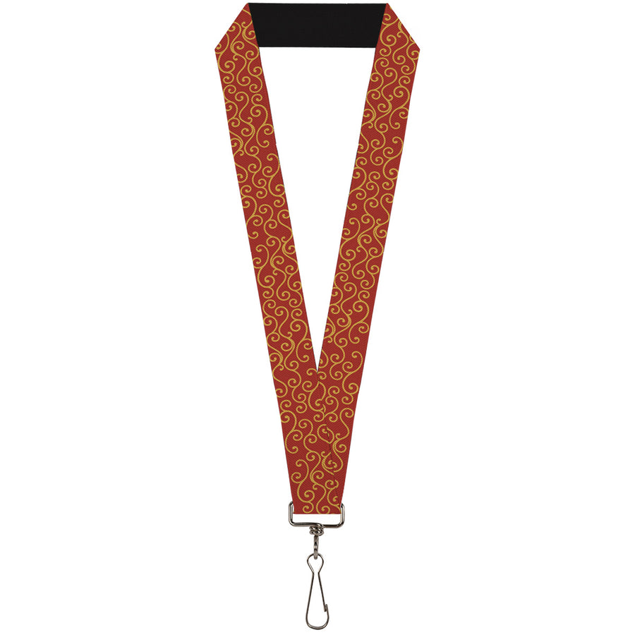 "Lanyard - 1.0"" - Holiday Trim Swirls Red Gold"
